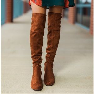 City Chic Low Flat Heel Over the Knee Boots